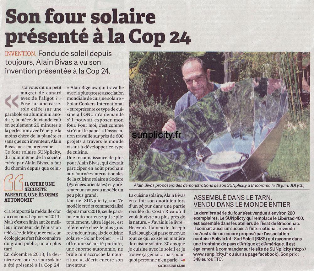 Le journal d'ici talks about solar cooking at SUNplicity