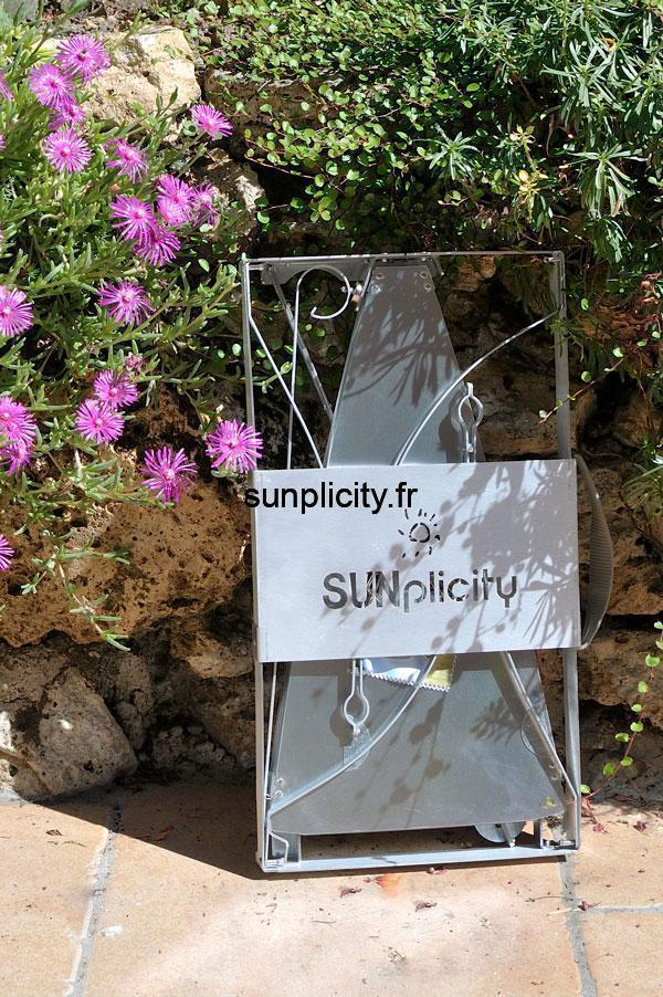 The folded SUNplicity solar cooker is very compact.