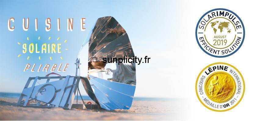 The SUNplicity solar barbecue as well as the Solar Impulse logos and the Gold Medal of the Lépine competition.