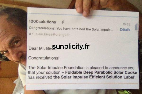 The SUNplicity solar parabolic cooker is proud to receive the Solar Impulse Efficient Solution label.