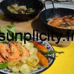 Gambas et courgettes